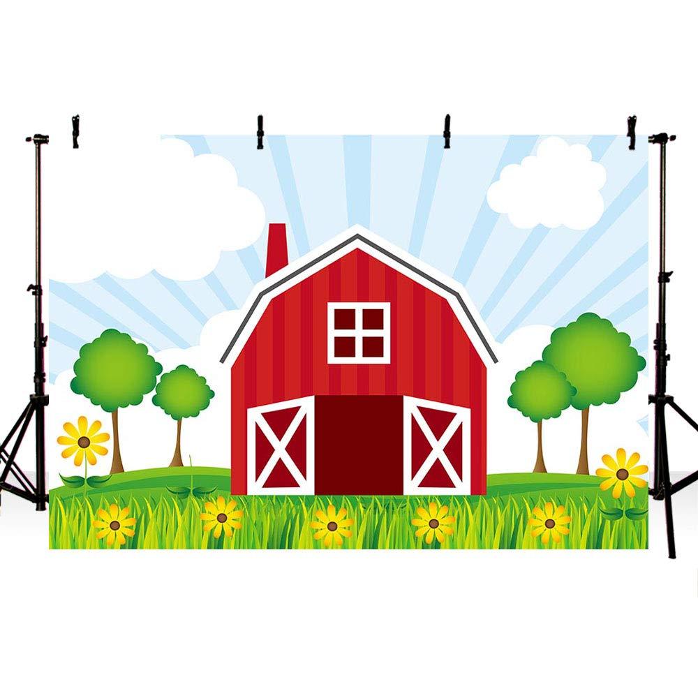 motivo: animali verdi albero festa di compleanno erba cielo per bambini decorazione per fotografia cielo Sfondo per studio fotografico MEHOFOTO 2,1 x 1,5 m