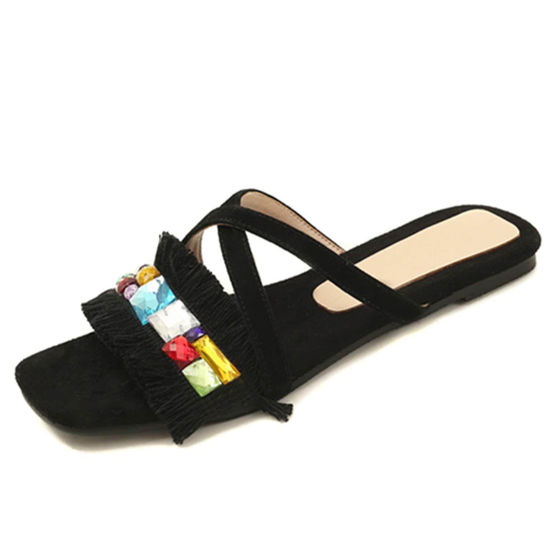 Black Yeenvan Concise Flat Sandals Women Suede Leather Slip On Slingback Short Tassel Summer shoes Casual shoes