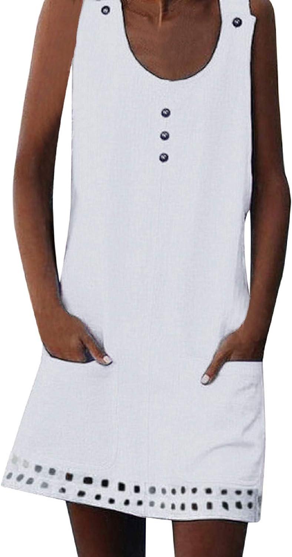 Boho Cotton Linen Sleeveless Dress with Pockets for Women Summer Casual Button Loose Dress Beach Beaded Dress