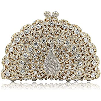 Milisente Women Peacock Crystal Clutches Giltter Diamonds Evening Bag Banquet Evening Clutch Purse (Gold)