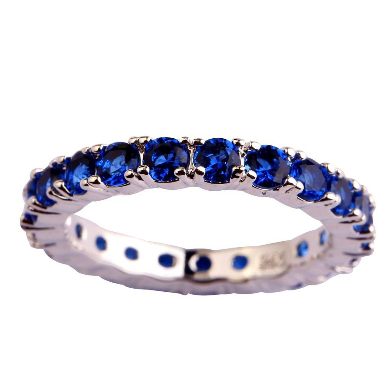 Psiroy Women's 925 Sterling Silver Created Blue Sapphire Filled Eternity Stackable Band Ring