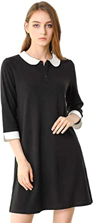Allegra K Women's Peter Pan Collar Dresses Casual Half Sleeves Knit Doll Collared Dress