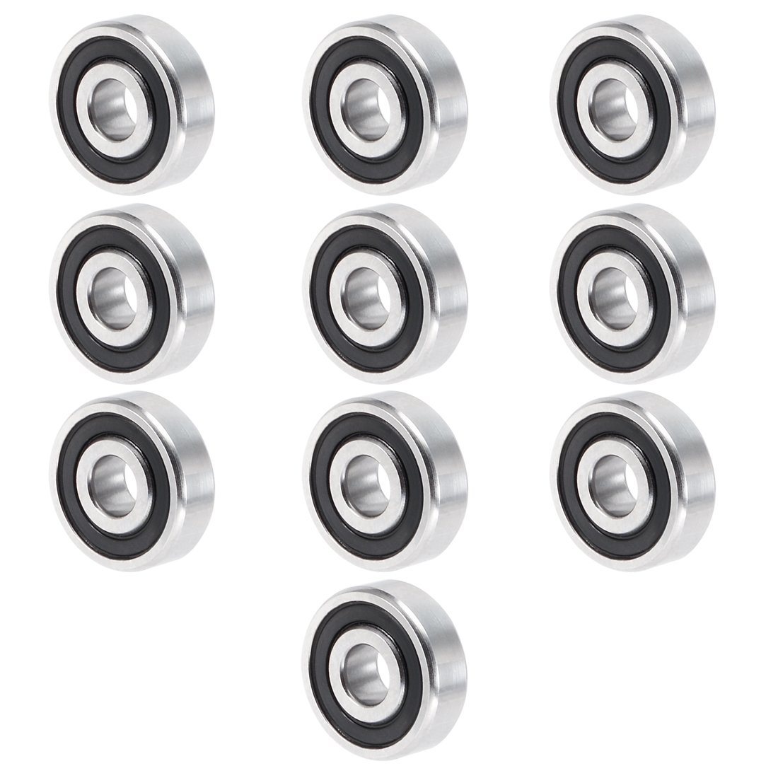 uxcell 10pcs 604 2RS 4mmx12mmx4mm Double Sealed Miniature Deep Groove Ball Bearing