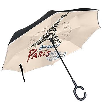 ALAZA Torre Eiffel de París francés bandera Beige puede paraguas paraguas plegable de doble capa resistente