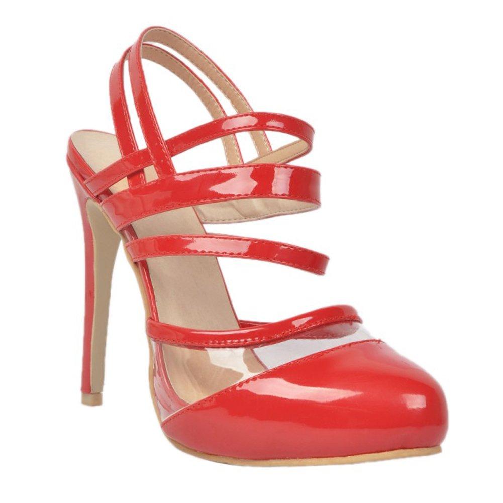 Kolnoo Damen Faschion 11cm Slingback Runde Zeh Slingback 11cm Patent Absatz Sandelholz Schuhe ROTs da4275