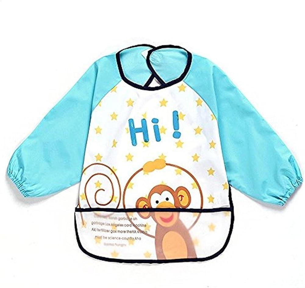 Toddler Baby Waterproof Apron Sleeved Bib Bib with Sleeves/&Pocket