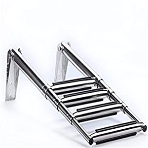 spareflying 2/3/4-step Slide Mount Boat Boarding Ladder, Under PlatformTelescoping Stainless Steel Marine Ladder
