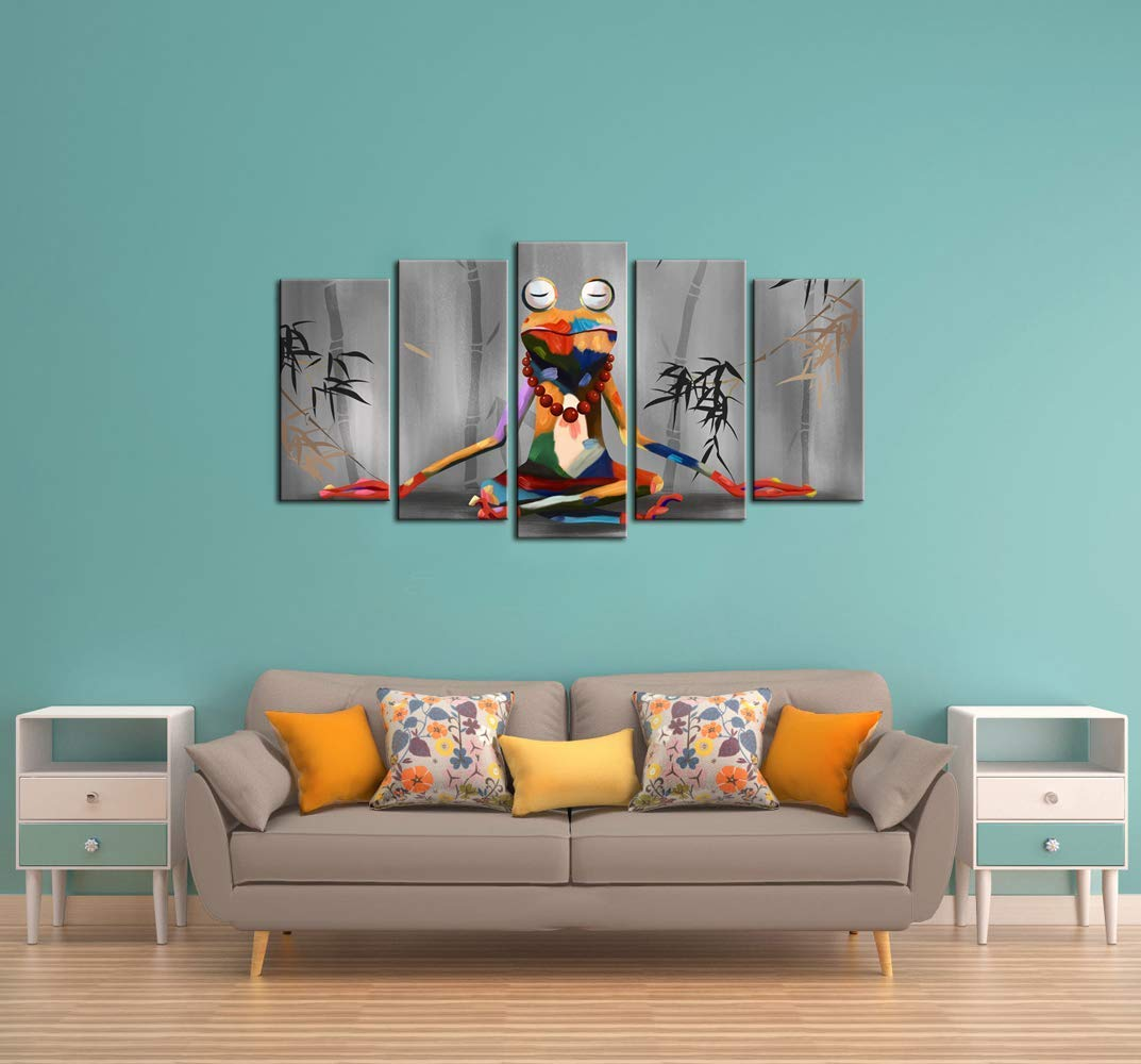 NATVVA Canvas Print Wall Art Modern Frog Buddha Meditation Painting Picture Funny Animal Art Prints Contemporary Home Decoration Stretched Gallery Canvas Wrap Frog Art Ready to Hang by NATVVA (Image #2)