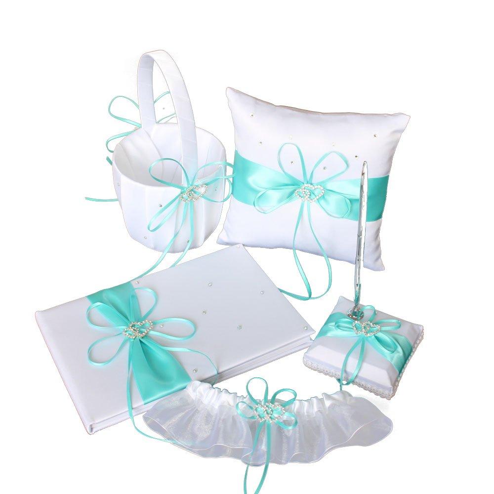 LAPUDA Double Heart Wedding Suit, a flower basket, a ring pillow, a guest book, a pen holder and a garter (Tiffany blue)