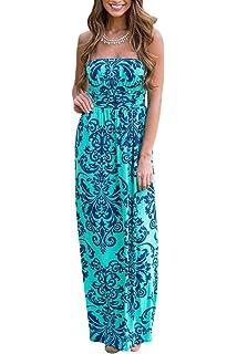 YMING Damen Bandeau Kleid Strandkeid Sommerkleid Blumen Druck Maxikleid,S-XL,DE  36 9abb39c0f3
