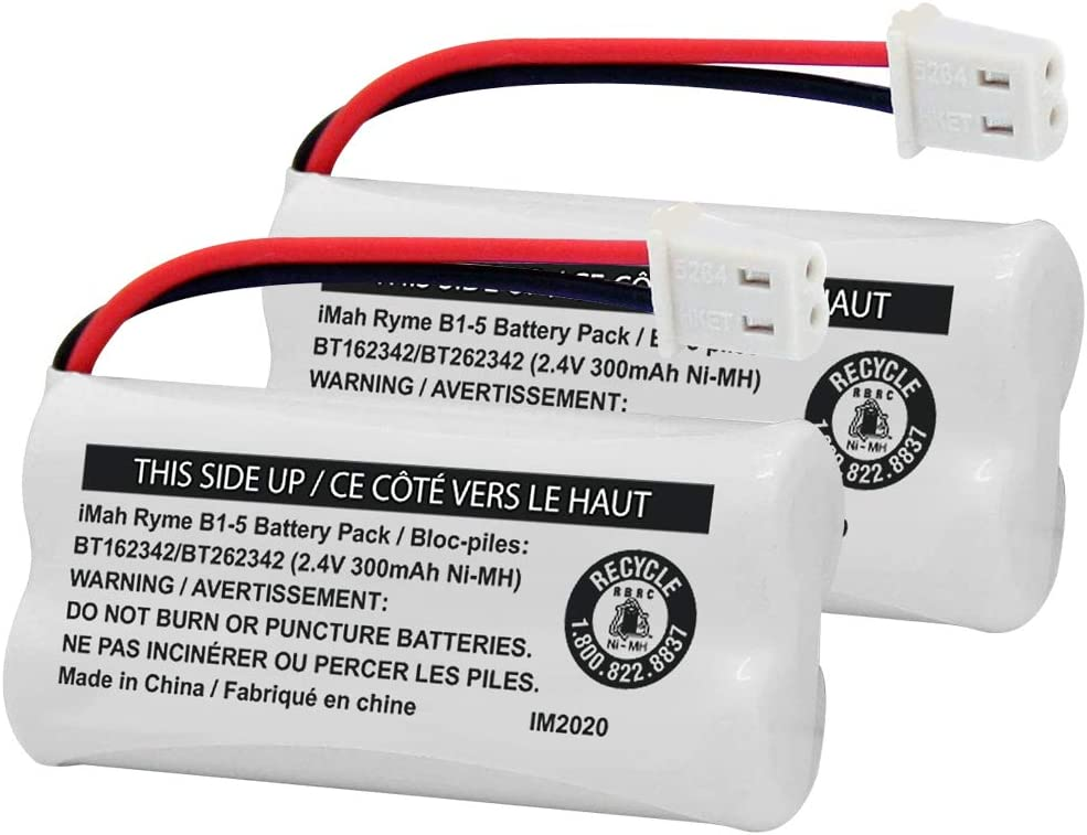 iMah BT162342/BT262342 2.4V 300mAh Ni-MH Cordless Phone Battery Pack, Also Compatible with BT183342/BT283342 AT&T EL52351 TL90070 VTech CS5119 DS6511 DS6722 LS6305 Handset, 2-Pack