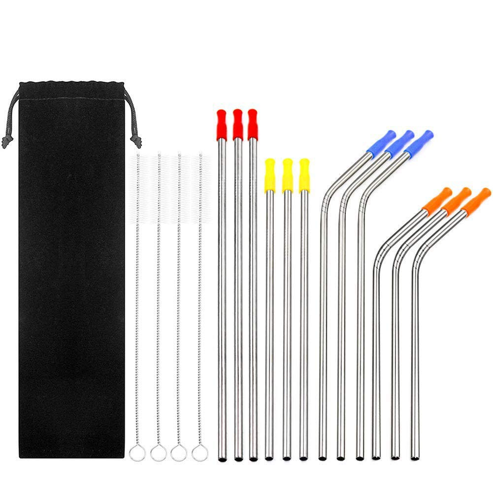 Stainless Steel Straws, Woobrit Set of 16 Reusable Drinking Straws Rustproof Safe Straw with 4 Cleaning Brush & Silicone Tips for 30 20 ounce Yeti Rambler RTIC, Tervis, Ozark Trail, Starbuck