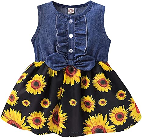 Toddler Kid Baby Girls Bowknot Denim Splice Sunflower Print Party Princess Dress