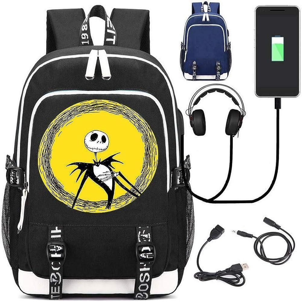 Jack Skellington Cosplay Bookbag Daypack Laptop Bag Backpack School Bag with USB Charging Port
