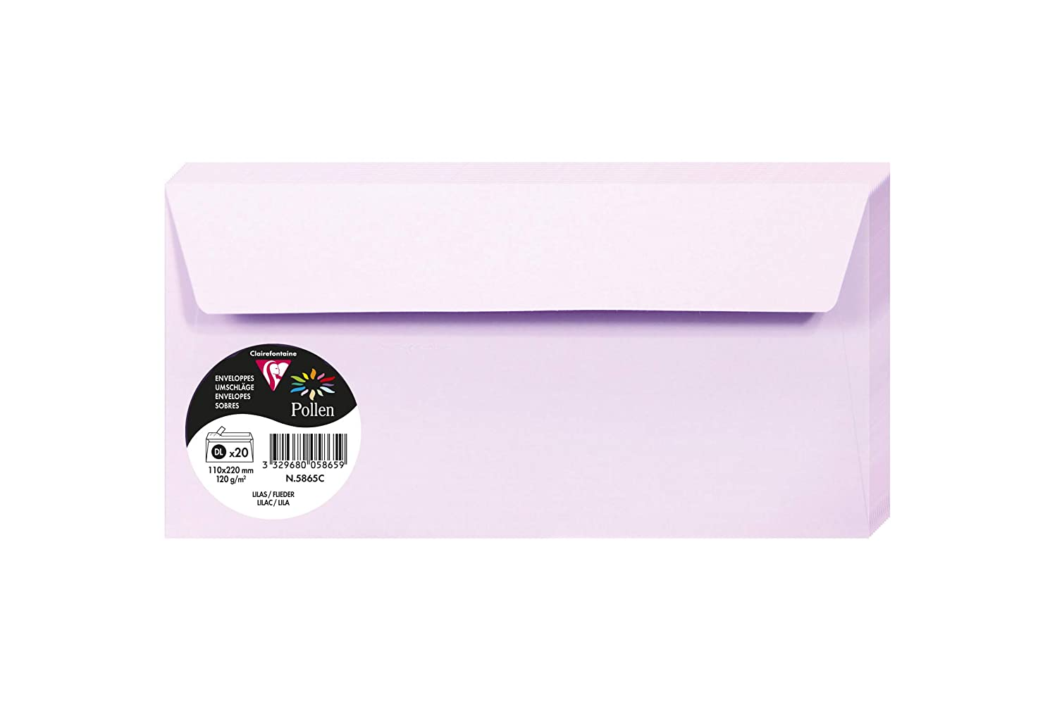 Clairefontaine Pollen Envelopes Pack of 20 22 x 11 x 0.10 Lilac