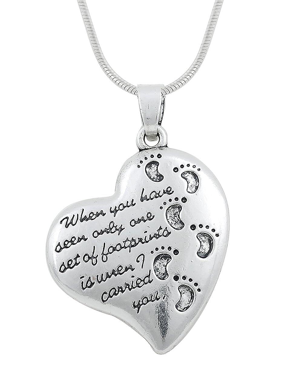 LemAmazon Halskette mit Fußabdrücken im Sand, schöne Gedichte, herzförmige Halskette, Geschenk für Männer und Frauen schöne Gedichte herzförmige Halskette BiChuang B07C9SPHL5_US