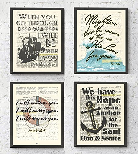 Nautical Bible Verse Christian ART PRINTS Set of 4, Isaiah 43:2, Isaiah 46:4, Psalm 93:4, Hebrews 6:19, UNFRAMED, Bible verse scripture wall decor poster, 8x10 inches