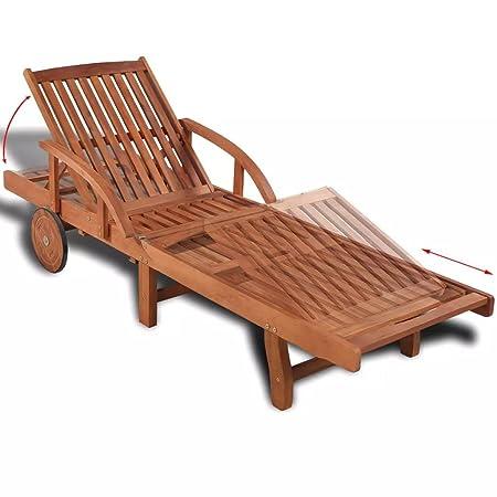 Festnight Folding Hardwood Patio Chair Sun Lounger Solid Acacia Wood 200x68x83 Cm