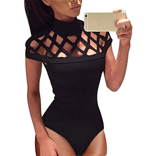 Bodysuits Womens Bodycon Bodysuit V Neck Sleeveless Bandage Jumpsuit Romper Leotard Top 2019 New In Fashion Selected Material