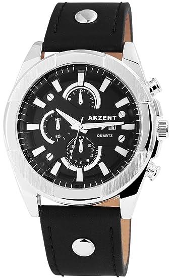 Reloj De Hombre Acento Con Piel imitations pulsera color negro plata Fecha Moderno Hombre Reloj de pulsera: Amazon.es: Relojes