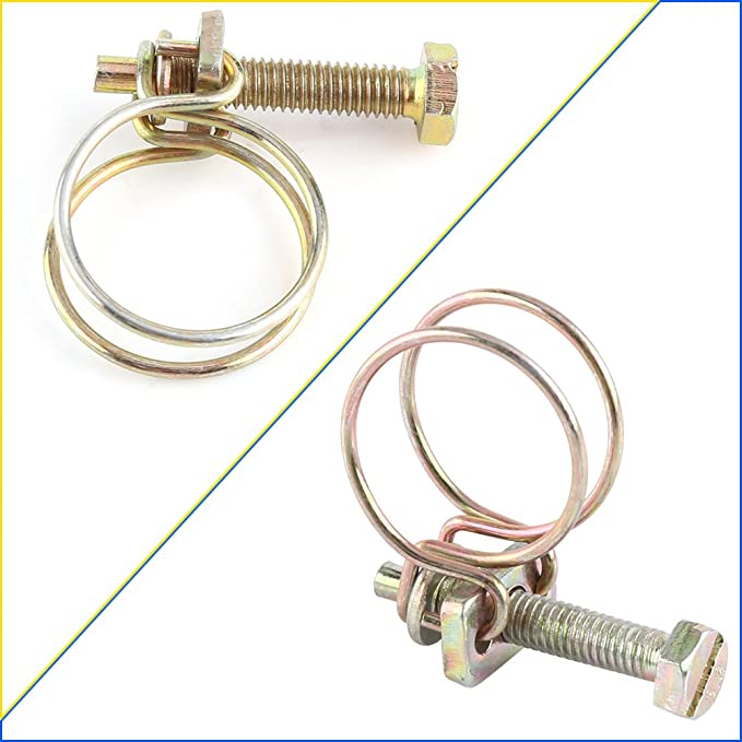 40x Double Wire Hose Clamp Pipe Clip Screw Bolt Tight Fitting Color Zinc Plating