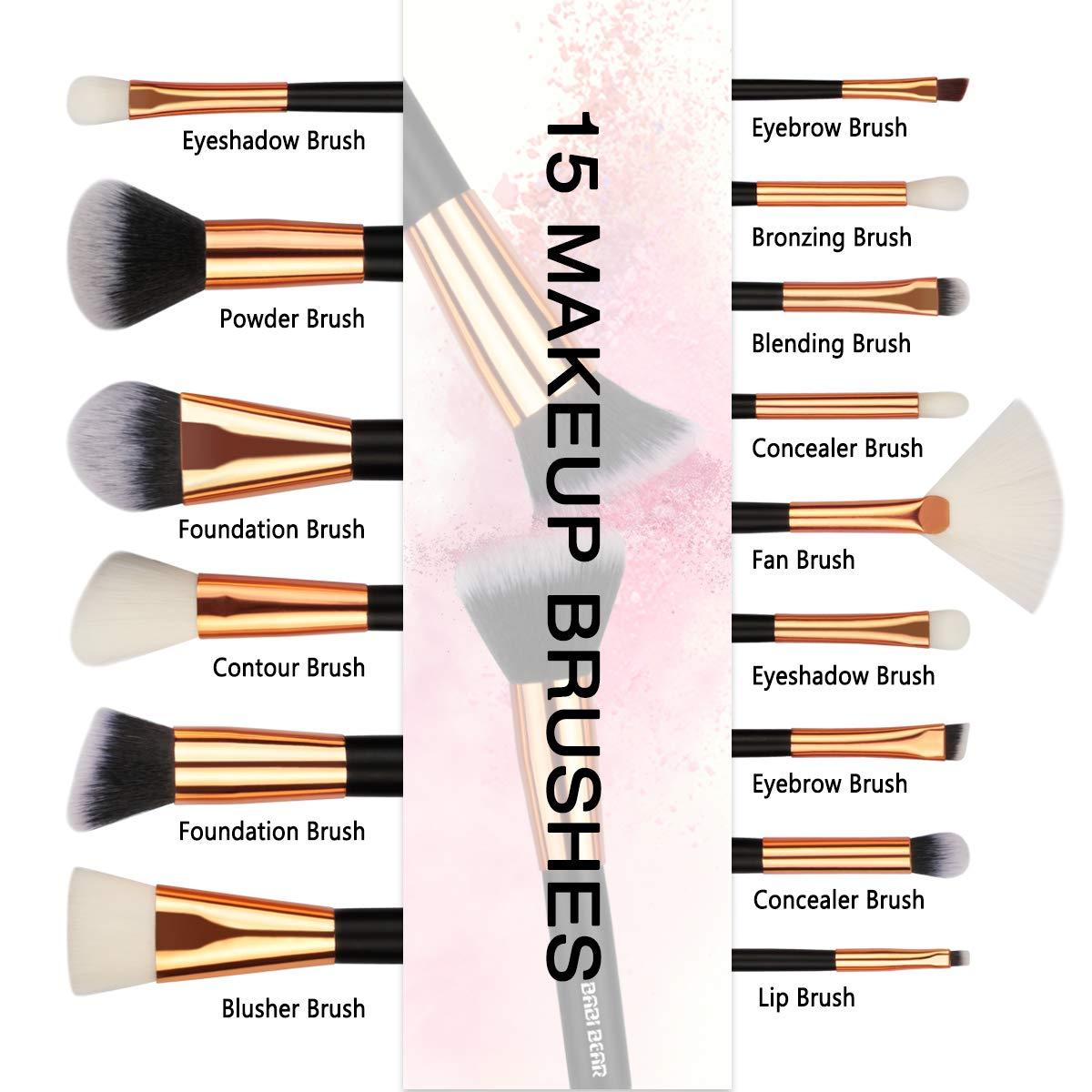 BABI BEAR 15 PCs Makeup Brushes Set Premium Synthetic Kabuki Foundation  Brush Professional Wooden Handle Makeup Brush with Makeup Sponge Brush  Cleaner