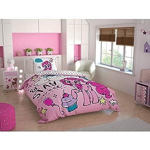 Duvet Cover Set 3 pcs Twin Size/Single 100% Cotton Beding Linens for Kids Children (Pony Sweet Dreams)