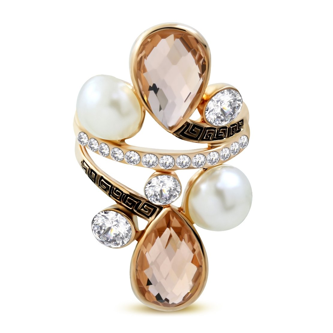 Rose// Pink Gold Color Plated Greek Key Cocktail Ring with Pearls Clear /& Topaz CZ