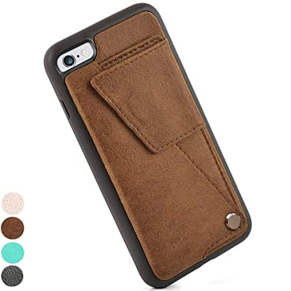outlet store c9475 d5b45 iPhone 6s Wallet Case, ZVEdeng iPhone 6 Case with Card Holder, iPhone 6  Case for Men, PU Leather Shockproof Cover Case with Card Slot Holder - Brown
