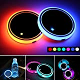 LED Car Cup Holder Lights,7 Colors Changing USB Charging Mat Waterproof Cup Pad,LED Interior Atmosphere Lamp Decoration Light