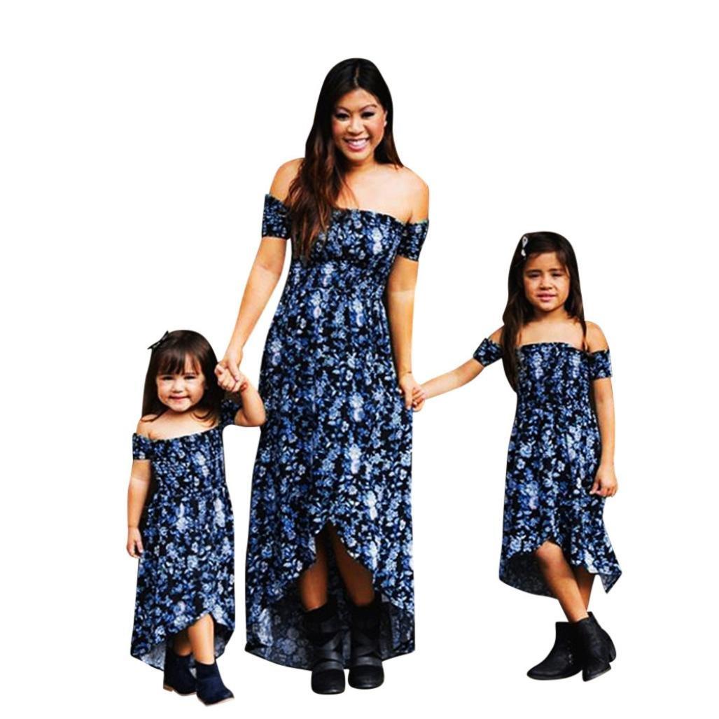 Feixiang Vestido Largos de Mujer Casual Falda de Floral Bodycon Vintage Falda del Hombro Vestido de Verano Vestido de Fiesta Vestido Familiar: Amazon.es: ...