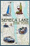 Seneca Lake, New York - Nautical Chart (9x12 Collectible Art Print, Wall Decor Travel Poster)