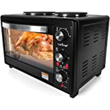 Upgraded NutriChef Turkey Roaster Thanksgiving Rotisserie Cooker Countertop Broiler with Dual Electric Burner, Toaster Oven  Black Stainless Steel Anti Rust Parts