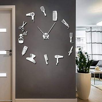 ZXMGZBIAO Bricolaje Barbería Reloj De Pared Gigante con Efecto Espejo Equipos De Herramientas para Barbero Reloj Sin Marco Decorativo Peluquero Arte De ...