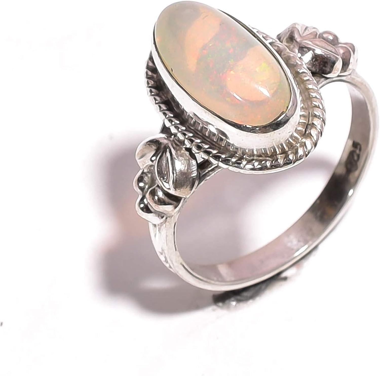 mughal gems & jewellery Anillo de Plata esterlina 925 Anillo de joyería Fina de Piedras Preciosas de ópalo etíope Natural para Mujeres y niñas Tamaño 5.75 U.S (ZR-744