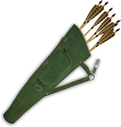 HIP  ARROW QUIVER ARCHERY PRODUCTS AQ NEW TRADITIONAL SUEDE GREEN SIDE 113G .