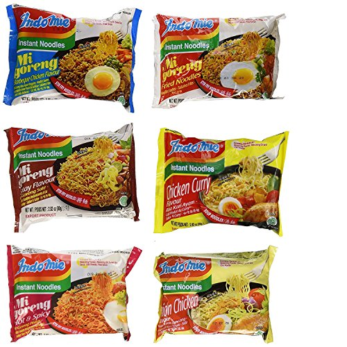 Price comparison product image Indomie Variety Pack - 1 Case (30 Bags) - BBQ, Satay, Hot Spicy, Fried Noodles, Curry & Onion Chicken