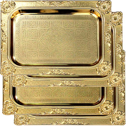 Maro Megastore (Pack of 4) 17.3-Inch x 12.6-Inch Rectangular Iron Gold Serving Tray Edge Floral Engraved Decorative Wedding Birthday Dessert Cake Snack Wine Candle Serving Platter Plate 2549 Ts-118
