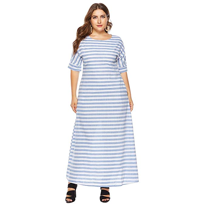 65aaa039cdef vermers Women Plus Size Long Maxi Dress - Women Casual Half Sleeve Stripes  Printed Loose Dresses