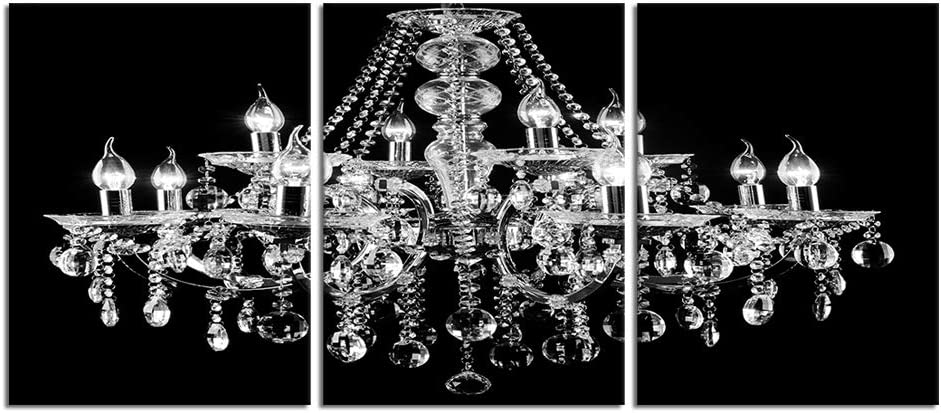 Visual Art Decor 3 Pieces Canvas Prints Crystal Chandelier on Black Background Picture Modern Home and Office Wall Art Decoration Ready to Hang