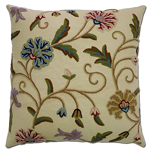Crewel Pillow Cotton - Kashmir Sosan Hand Embroidered Wool on Cotton Crewel Pillow NAQASH