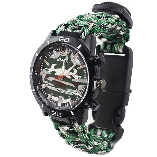 Reloj de Supervivencia Al Aire Libre Militar Compás Termómetro Multifunción Cuerda Paracord Camuflaje Relojes Hombre, Verde: Amazon.es: Relojes
