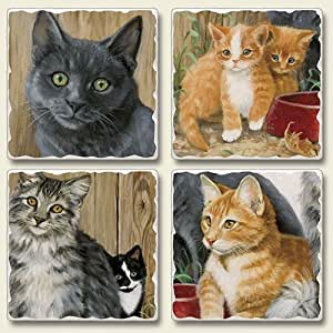 Absorbent Stone Coasters set of 4- Barn Cats