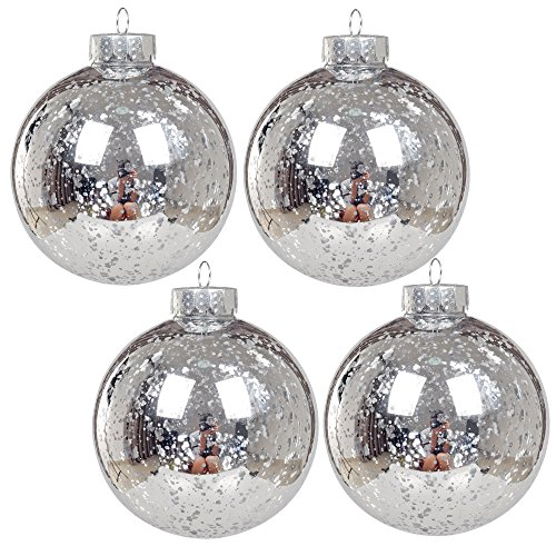 KI Store Christmas Mercury Ball Ornaments Outdoor Hanging Tree Decorations Large Shatterproof Shinny Vintage Balls Set of 4 (4