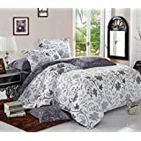Floral Duvet Cover Set California King, Vintage Flowers Pattern Printed, Reversible with White and Bluish Dark Gray Grey, Soft Microfiber Bedding with Zipper Closure (3pcs, Cal King Size)