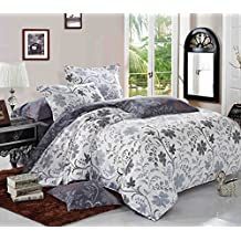 Floral Duvet Cover Set Queen, Vintage Flower Pattern Printed, Reversible with White and Bluish Dark Gray Grey, Soft Microfiber Bedding with Zipper Closure (3pcs, Queen Size)