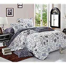 Wake In Cloud - Floral Duvet Cover Set, Reversible White Bluish Dark Gray Grey, Vintage Flower Pattern Printed, Soft Microfiber Bedding Zipper Closure (3pcs, Queen Size)