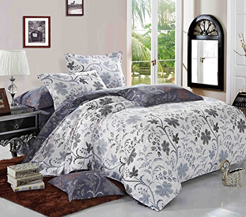 Floral Duvet Cover Set, Reversible with White and Bluish Dar