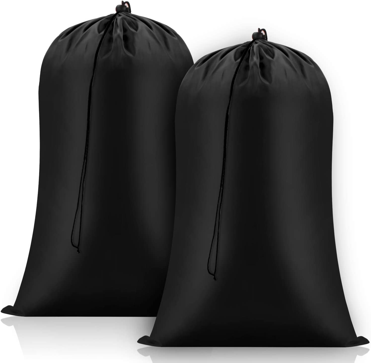 FreDorm Heavy Duty Laundry Bags Extra Large 28 x 43 inch 2 Pack XL Dirty Clothes Organizer Travel Storage Bag Drawstring Closure Camp College Dorm Tear Resistant Big Hamper Liner Black