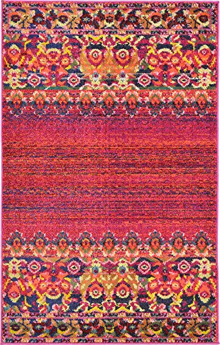 Unique Loom Medici Collection Vibrant Colors Abstract Botanical Red Area Rug (3' 3 x 5' 3)
